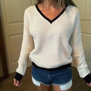 Sanctuary White Waffle Knit Sweater